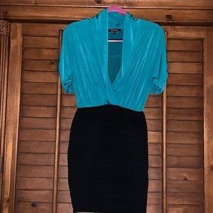 WOW Couture Turquoise Black Mini Dress